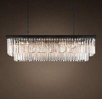 Z nuovo grande paese americano lampadario di cristallo sala da pranzo creativo rettangolare di cristallo lampada led illuminazione rh lampadario