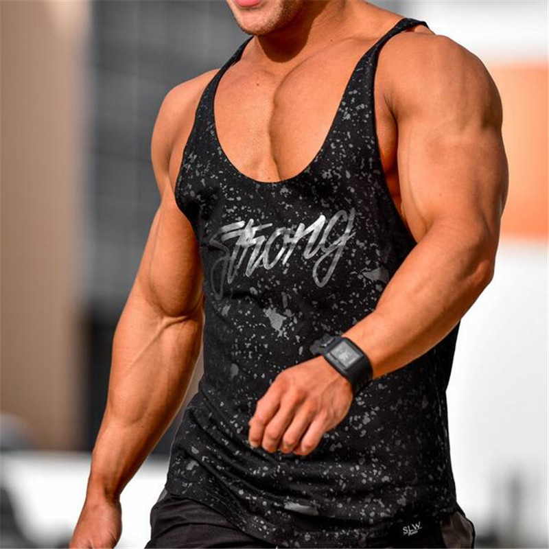 2018   Tank     Tops   Men Sleeveless Vest   TOP   Undershirt casual fitness Mens casual print Bodybuilding Red gray black