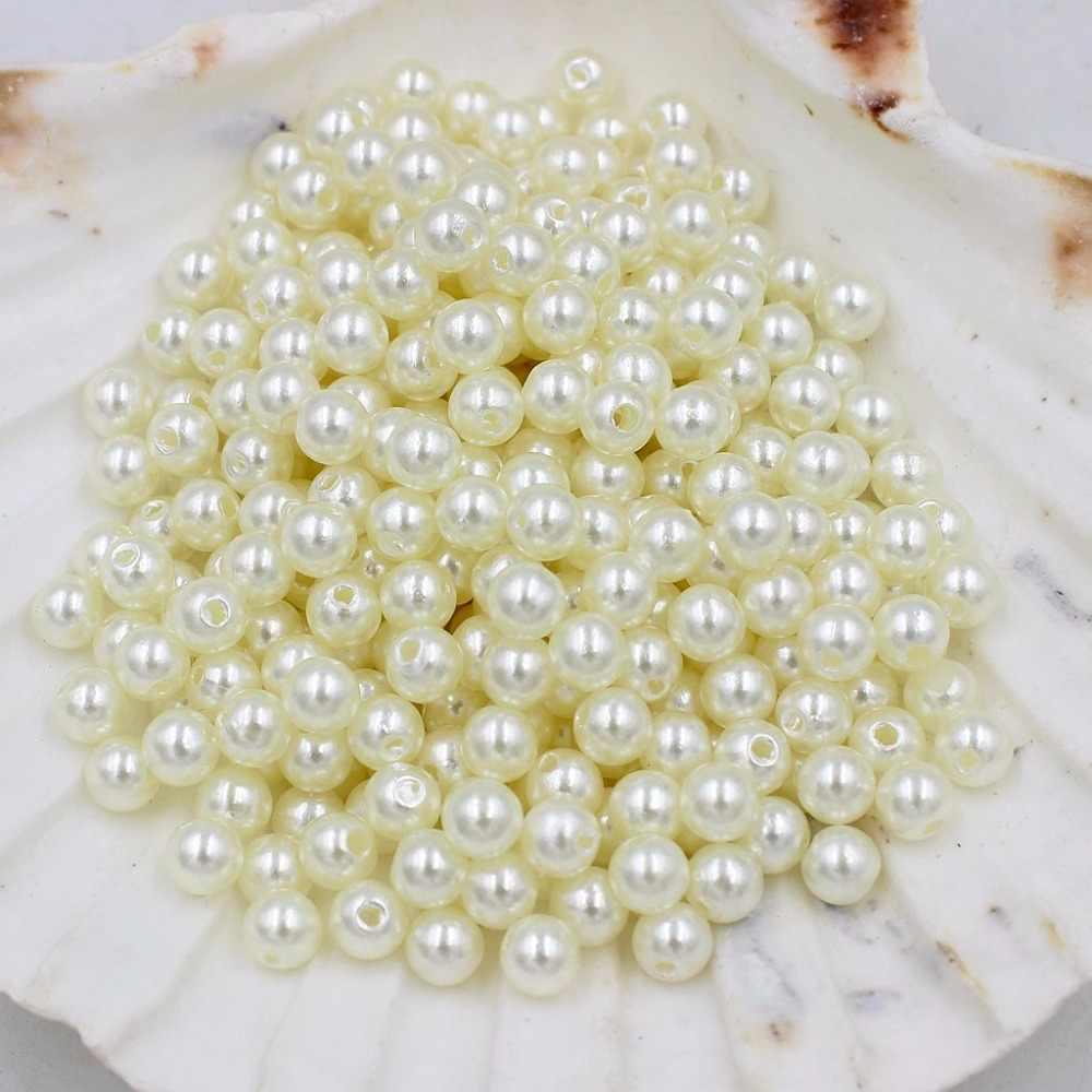 Venta al por mayor te conozco enemigo, enemigo, no te conozco te odio, te odio. 3-25mm forma redonda ABS perlas de imitación baratas perlas blancas/Marfil hecho a mano pulsera DIY accesorios de fabricación
