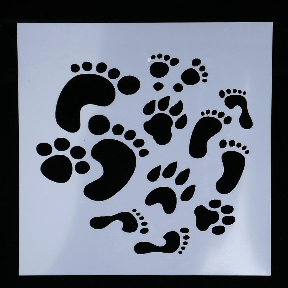 Flower Footprint Reusable Stencil Airbrush Painting Art Diy Home