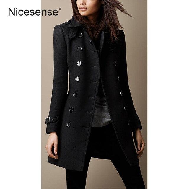 995461f182b4 Casaco de inverno mulheres sobretudo NicesensE poncho abrigos mujer  invierno 2017 preto casaco de lã casaco