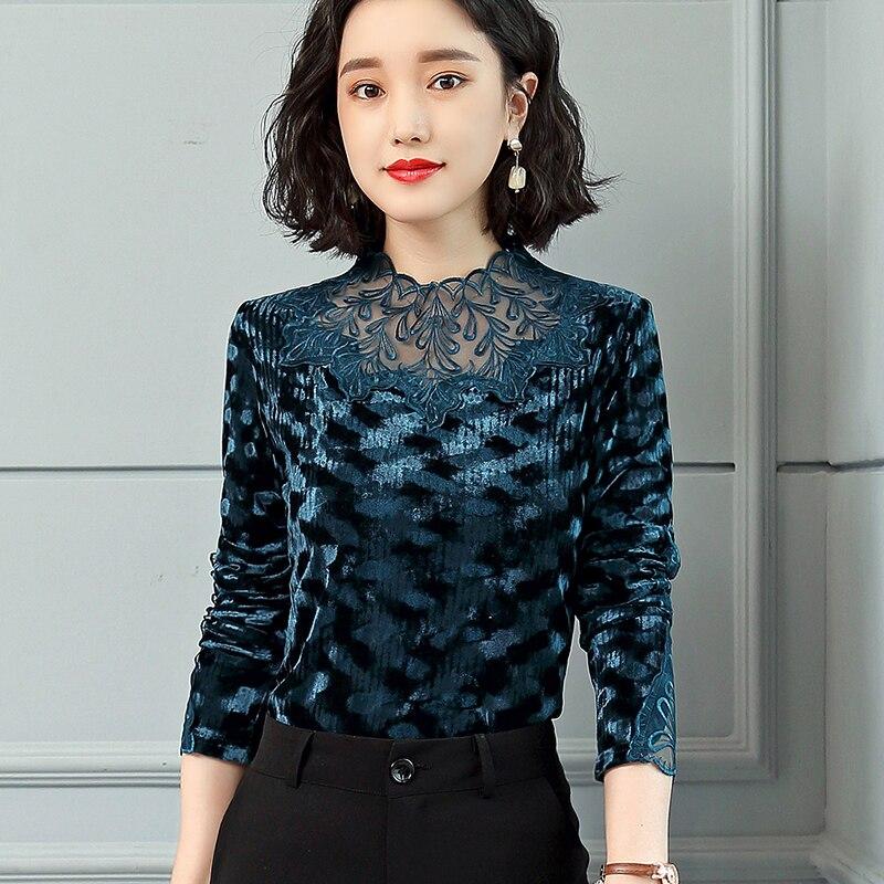 Velours Femmes Bleu Hauts Printemps Femme Nouveau Mode Coréen Maille Moda Perspective Blusas Mujer marron De Vêtements Patchwork Chemises Chemisiers 8p5x7wqR