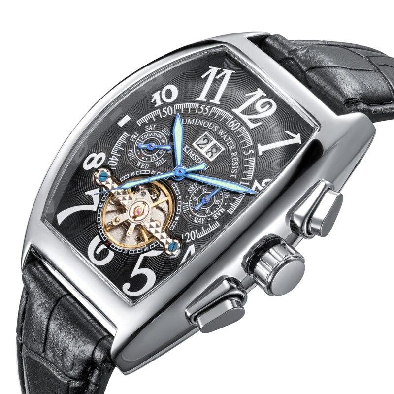 Tourbillon Automatic Mechanical Chronograph Men Leather Watchd Skeleton Mens Watches Brand Luxury Sport Business Clocks