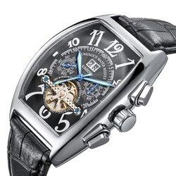 Tourbillon automatyczne mechaniczne chronografu mężczyzna skórzane Watchd szkielet mężczyzna zegarki luksusowe marki Sport biznes zegary w Zegarki sportowe od Zegarki na