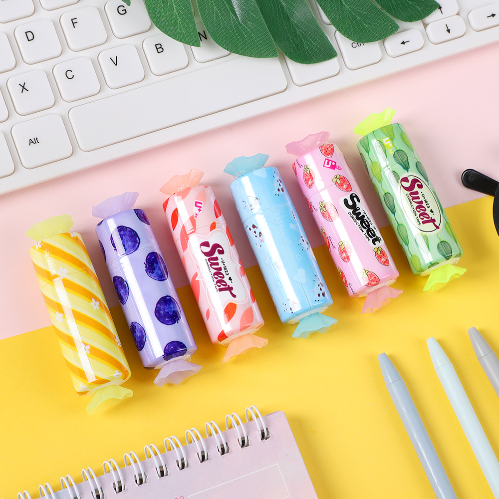 JIANWU 1pc 5mmX5m Cute Candy Style Correction Tape Kawaii Student Alteration Tape School Supplies