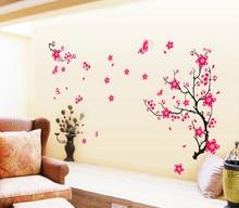 88b06dc8e البرقوق فراشة الوردي شجرة FlowVinyl الزواج غرفة الجدار ملصق المنزل الشارات  جدار صائق خلفية ديكور المنزل