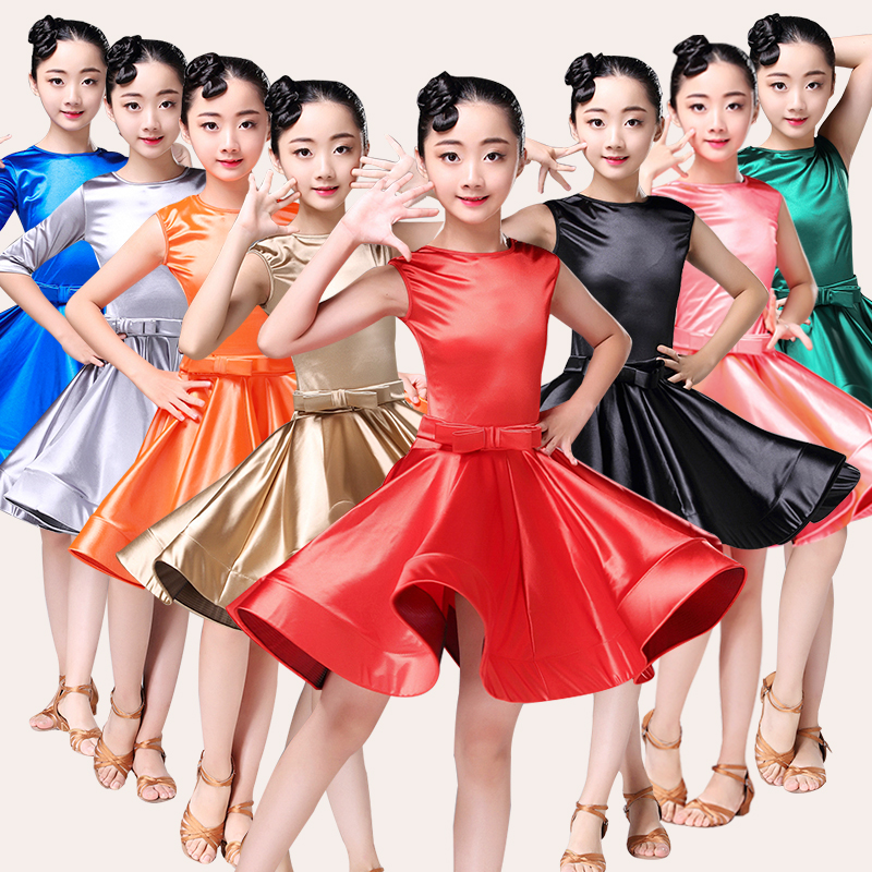 Girl Latin Dress Party Dance Costume Dress Ballroom Latin Skirt Competition Practice Performance Clothes For Girl Dancewear