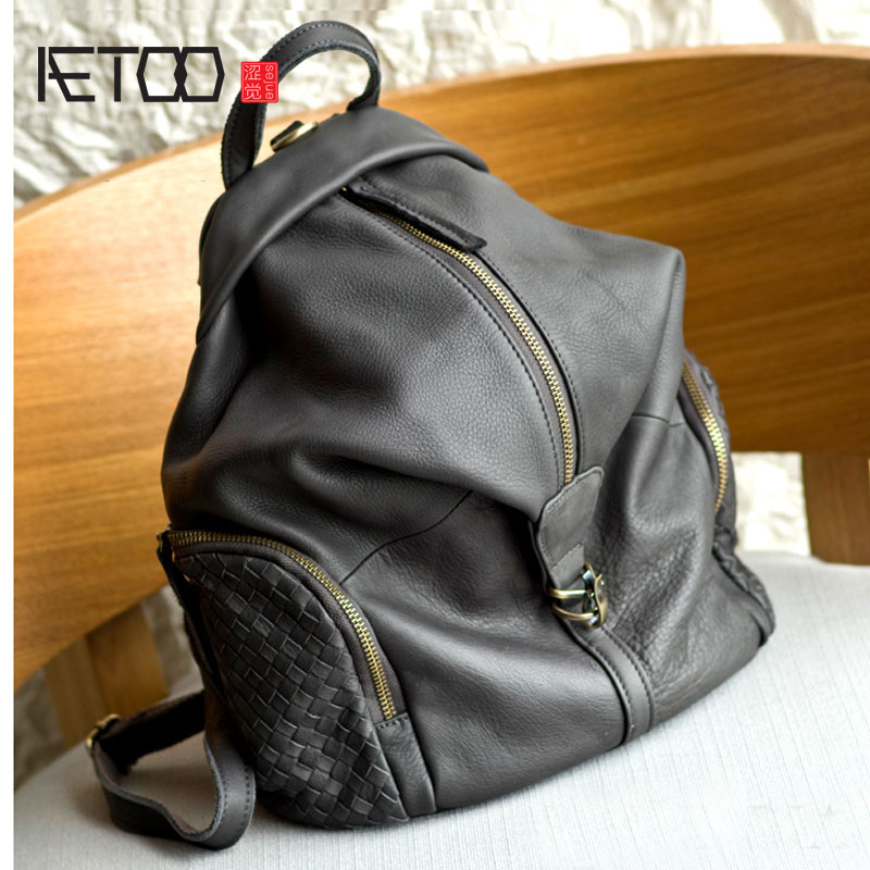 AETOO Leather shoulder bag head layer cowhide backpack retro art college wind bag leisure travel kundui 2016 new europe and america schoolbag england girl shoulder bag leisure backpack retro college wind genuine leather bag