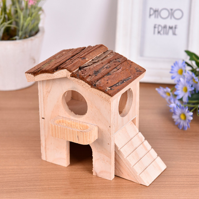Wooden Hamster Cage Toys House Double-deck Loft Luxury Villa balcony Ladder Hut Small Pet chinchillas Guinea pig house Supplies