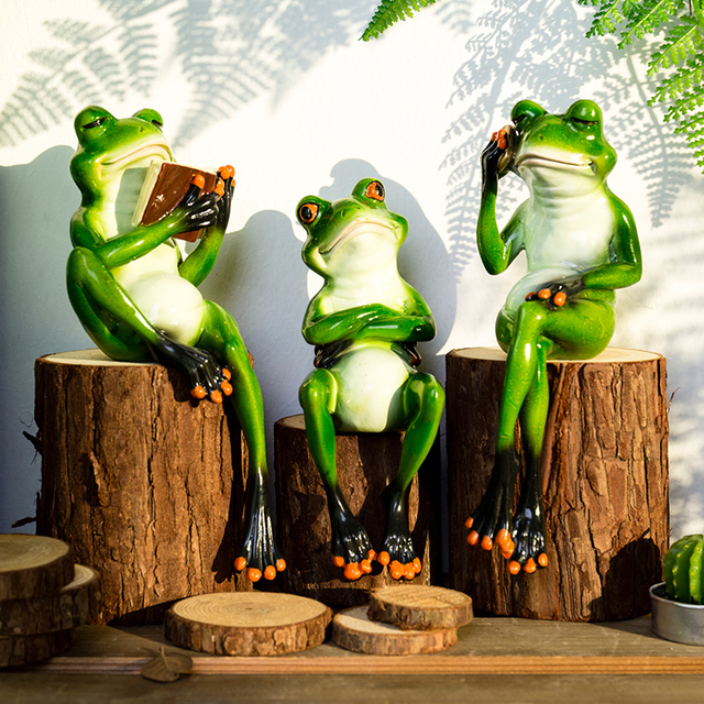 Pastoral Personate Frog Ornaments Creative Gentleman Frog Figurine For Table  Decoration Home Decorave Accessories Gift For