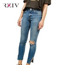 Rziv 2017 женские повседневные однотонные носить узкие джинсы