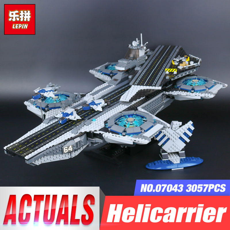 3057pcs LEPIN 07043 Super Heroes The SHIELD Helicarrier Model Building Kits Blocks Bricks Children Day's Toys brinquedos 76042 3057pcs 07043 the shield helicarrier set captain america winter soldier building blocks bricks compatible with lego
