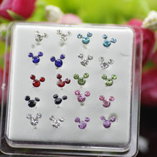 20 Pcs Fashion Perhiasan Wanita 925 Sterling Perak Stud Anting-Anting Campuran Warna Crystal Mickey Bentuk Telinga Stud(China)