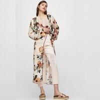 Runway Bohemian Kimono Blouse Women 2017 Open Blouses Floral Pattern Print Fashion Elegant Long Shirts Tops