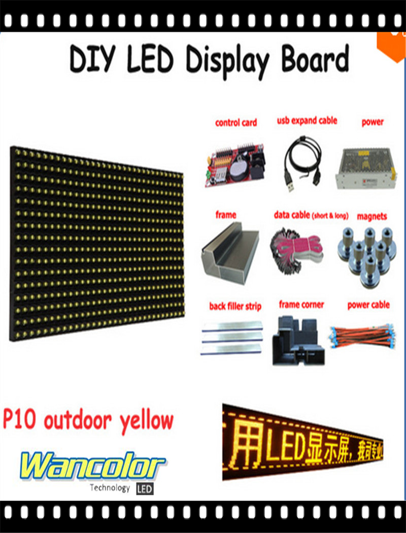 Free Shipping Diy Led Text Sign 20pcs P10 Outdoor White Color Led Module Power Supply+controller aluminum Frame+corner+cables