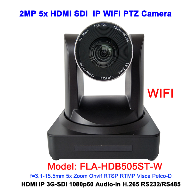 Zoom optique grand Angle 5x 1080P60 HDMI 3G-SDI PTZ dispositif de vidéoconférence IP caméra sans fil