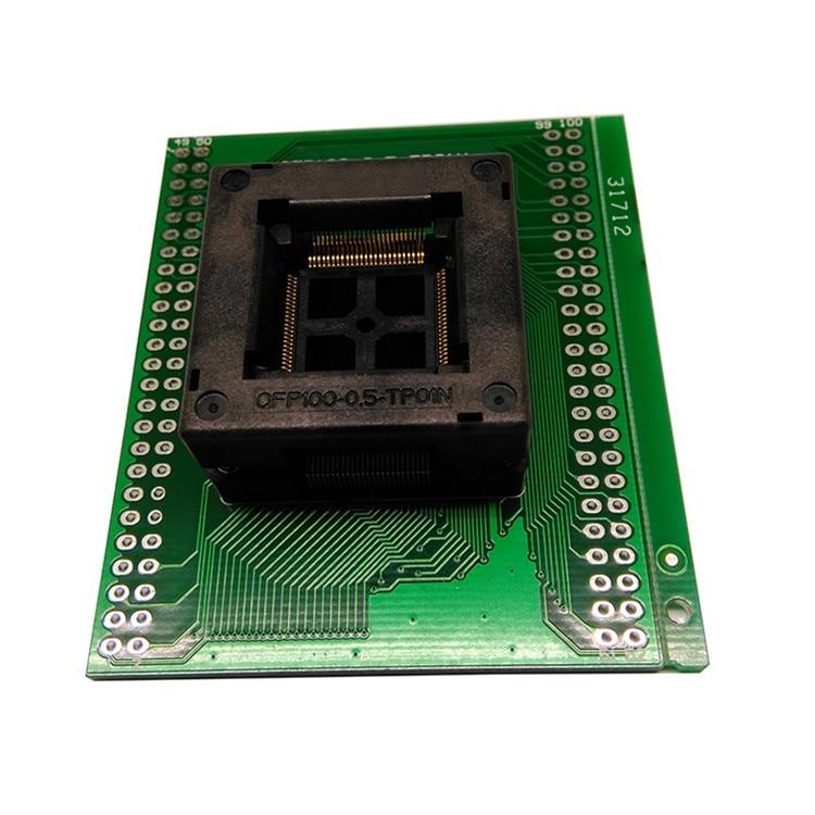 Free TQFP100 FQFP100 QFP100 To DIP100 Programming Socket OTQ-100-0.5-09 Pitch 0.5mm IC Body Size 14x14mm Test Adapter