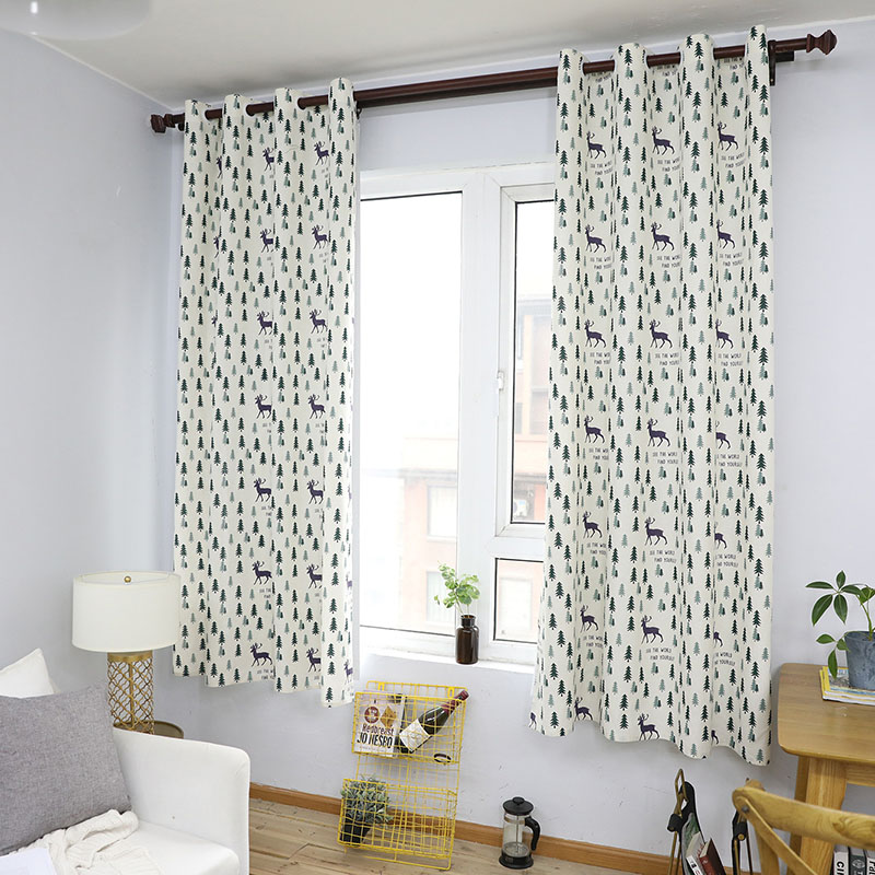 Nodic Style Animal Deer Tree Print Blackout Curtain Solid Cotton Window Curtain for Livingroom Bedroom Home Decoration cortina-in Curtains from Home & Garden