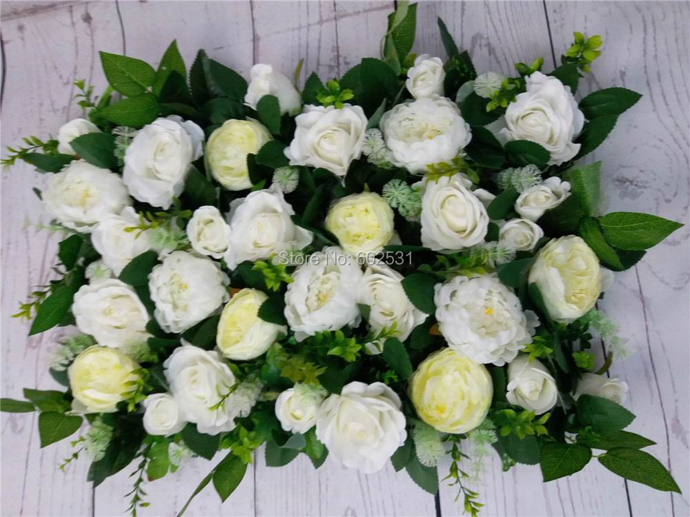 SPR Free Shipping 10pcs/lot Artificial silk rose flower wall with green peony wedding backdrop arch flower table decoration flor