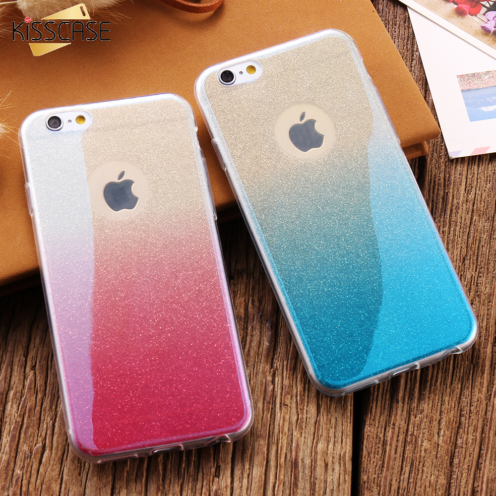 KISSCASE For iPhone 6 6S Case Glitter Gradient Slim TPU Cover Bling Sequin Soft Gel Girly Coque For iphone 7 7 Plus 6 6S Plus