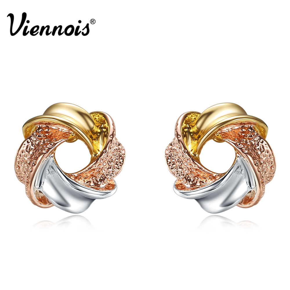 Viennois Multicolor Annulus Stud Earrings For women Sweet Donut Colorful Small Earrings Round Twisted Earrings