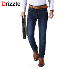 023629094e3 Drizzte Men Jeans Fashion High Stretch Denim Slim Fit Jeans Scratch Pants  Business Classic Trousers Jeans