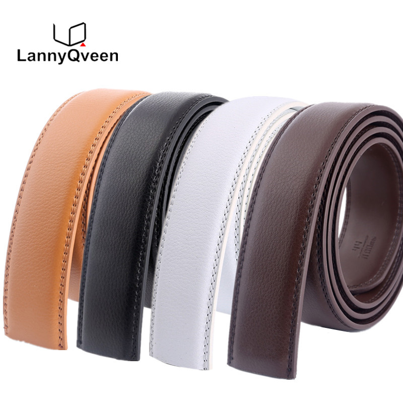 LannyQveen Tidak Ada Gesper sabuk 3.5 cm putih merah coklat 5 warna Kulit Asli Sabuk Otomatis Tali Tubuh Desainer Pria pita sabuk