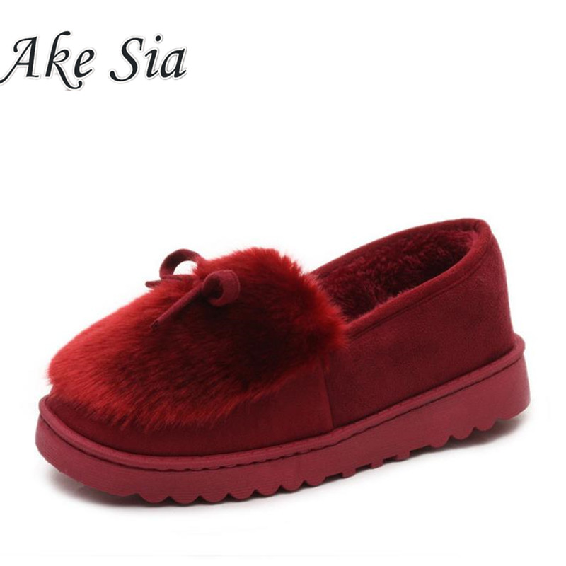 A 2017 Autumn Winter Women Ballet Flats Lovely Bow Warm Fur Comfort Cotton Shoes Woman Loafers Slip On Size 40  F270 jingkubu 2017 autumn winter women ballet flats simple sewing warm fur comfort cotton shoes woman loafers slip on size 35 40 w329