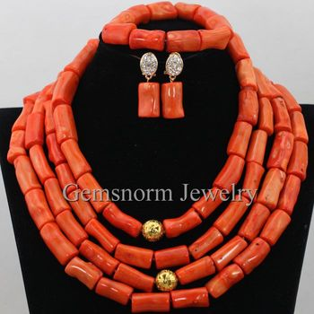 2017 Fashion African Coral Beads Jewelry Set  Nigerian Wedding African Beads Jewelry Set Christmas Necklace Free Shipping CNR370