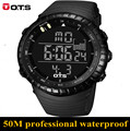 Moda masculina Deporte Militar Reloj 2017 Nuevos OTS 7005 Relojes los hombres de Lujo Marca 5ATM 50 m Buceo LED Digital Analógico de Cuarzo reloj
