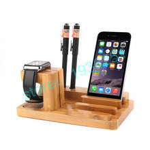 Universal Multi-Function Natural Bamboo Wooden Charging Dock Cradle Stand Charge Station Holders For iPhone For Pad For i Watch