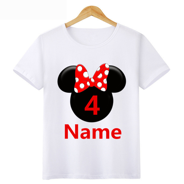 Boy Girl Birthday 1 9 Digital Bow Tie Print T Shirt Children Short Cotton Top Design Your Name And Number Cute