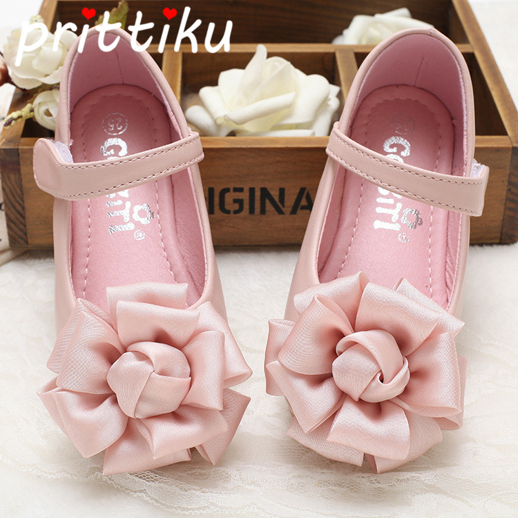 Spring 2018 Baby Toddler Girl Princess Flats Little Kid PU Leather Silk Flower Mary Jane Children Pink Fashion Party Dress Shoes spring new princess kids toddler girl denim dress kid little girl suspender dress baby clothes mermaid dress free drop shipping