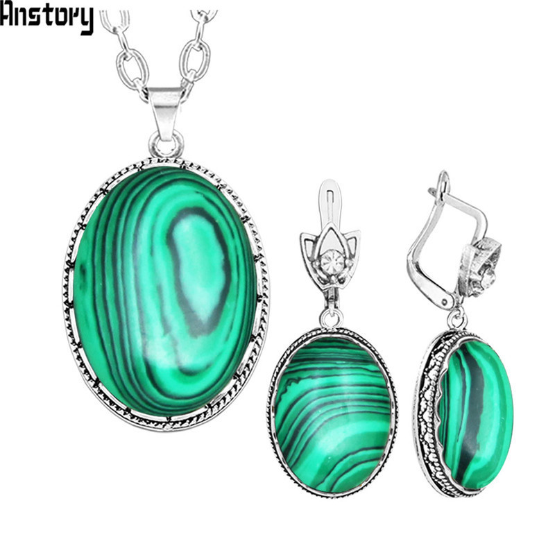 Oval Malachite Necklace Earrings Jewelry Set For Women Vintage Hollow Flower Pendant Stainless Steel Chain Fashion Gift TS273 chic rhinestone faux turquoise oval hollow out necklace for women