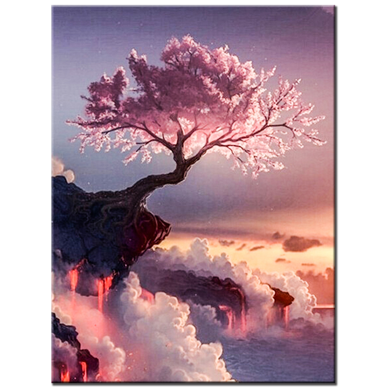Diamond Mosaic Cliff Pink Tree DIY 5D Completo Ronda Rhinestone - Artes, artesanía y costura