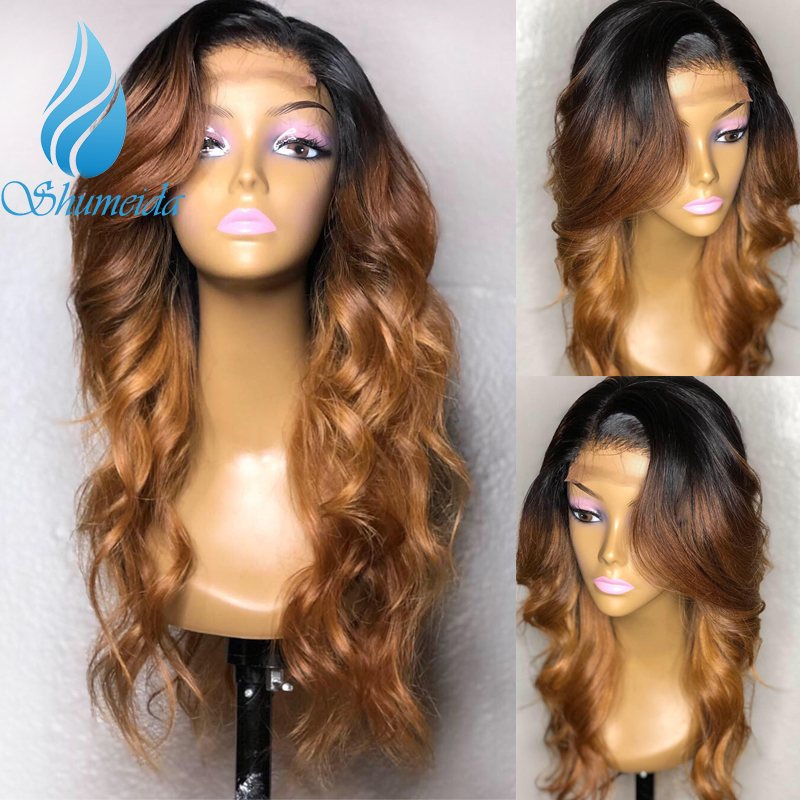 SHD Three Ombre Color Human Hair Wigs For Women Brazilian Long Wave Remy Hair 13x6 Lace