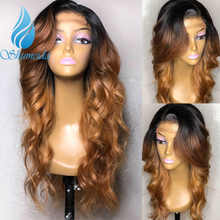 SHD Three Ombre Color Human Hair Wigs For Women Brazilian Long Wave Remy Hair 13x6 Lace Front Wigs With Baby Hair Bleached Knots