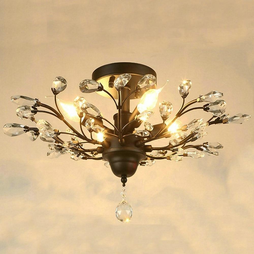 HTB1vysEbOERMeJjSspjq6ApOXXa5 Modern Flush Mount Home Gold Black LED K9 Crystal Ceiling Chandelier Lights Fixture for Living Room Bedroom Kitchen Lamps