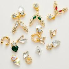 2019 new nail jewelry alloy rhinestone pendant shaped crystal diamond heart drop nail rhinesotne , 100pcs/lot