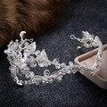 Blanco Elegante Hairband Mujeres Crystal Joyería Del Pelo Adorno Para el Pelo de Novia Coronas Tiara Hecha A Mano Suave de la Hoja de Plata Accesorios de La Boda