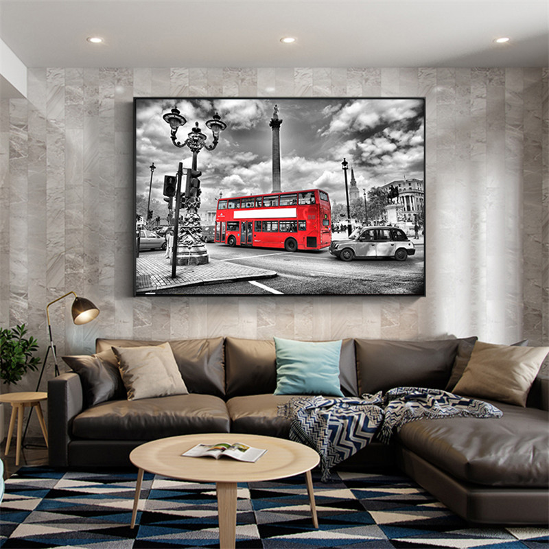 Red Bus London Street Cityscape Canvas Pictures for Living Room Wall Decor Cuadros Decoration Salon Modern Art Poster