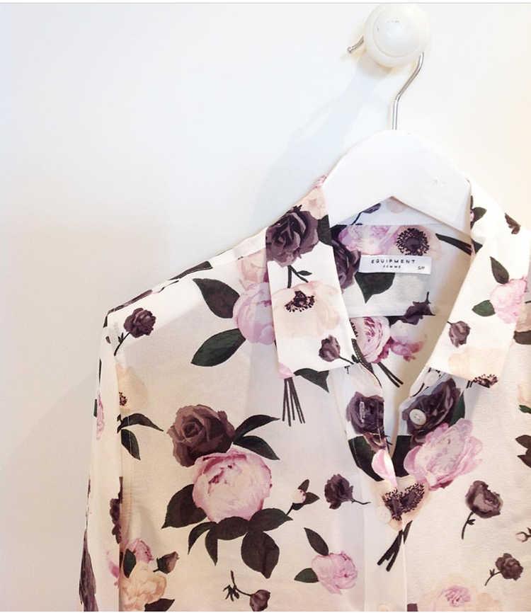 801dacbec6b INS popular EQ 100% silk women purple floral print long sleeve shirt lady  soie blouse
