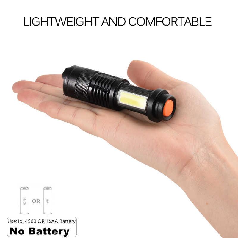 3800LM LED linterna portátil Mini XML-Q5 + COB Zoom 4 modos linterna uso AA 14500 batería linterna de iluminación impermeable