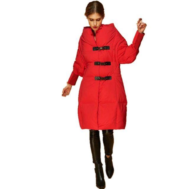 Novas Mulheres Jaqueta Moda Inverno espessamento Para Baixo Casaco de 2017 Novos Casacos de Inverno Parka de Médio-longo Mulheres jaqueta de Inverno Vermelho M319