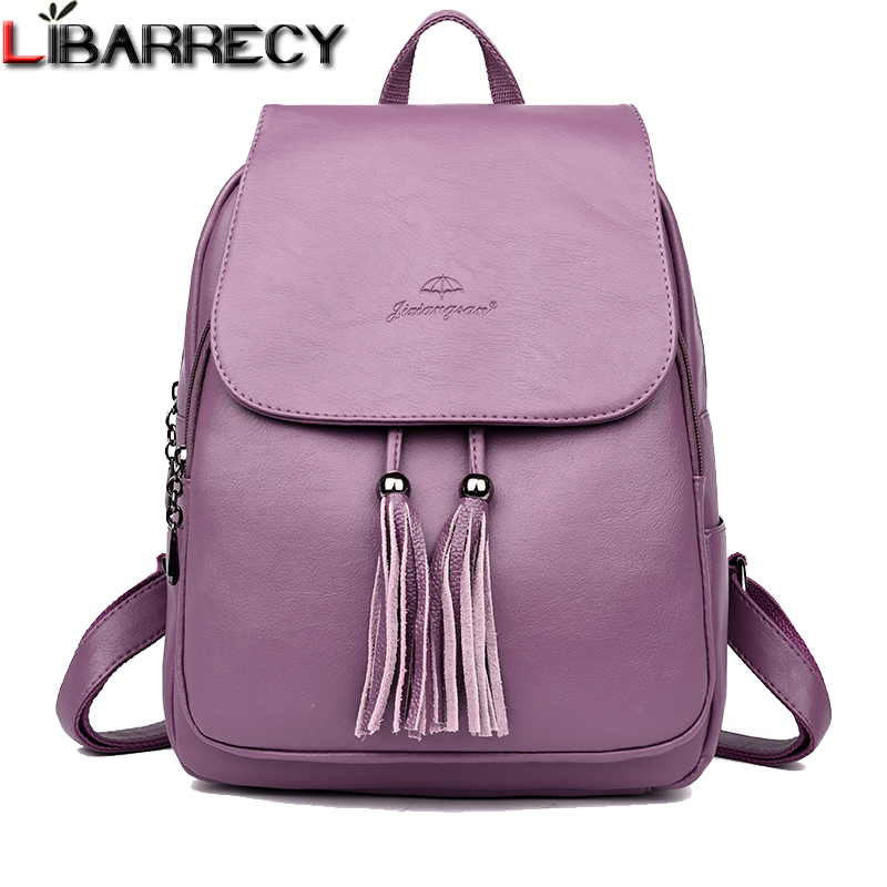 Fashion Tassel Women's Backpack Large Capacity School Bag for Girls Leather Shoulder Bag for Women 2018 Travel Backpack Female 2017 brand designer women simple style backpack fashion pu leather black school bag for girls large capacity shoulder travel bag