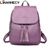 Fashion Tassel Women's Backpack Large Capacity School Bag for Girls Leather Shoulder Bag for Women 2018 Travel Backpack Female