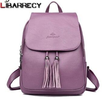 9b7f87d1a Mochila De mujer de borla de moda de gran capacidad mochila escolar para  niñas bolso de hombro de cuero para mujeres 2018 mochila de viaje para mujer