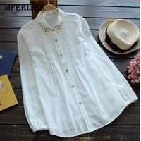 Mferlier Spring Autumn Women Shirt Floral Embroidery Blouses Turn Down Collar Shirt Womens Tops And Blouses