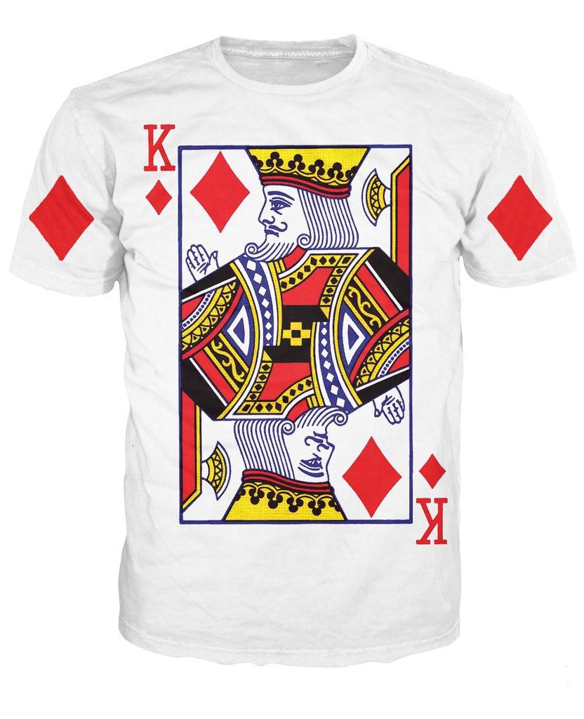 Rey de diamantes camiseta de alta calidad diseño de la tarjeta de juego 3D  impresión tee mujeres hombres moda camiseta tops o-cuello camiseta 7ad88df3ccf18