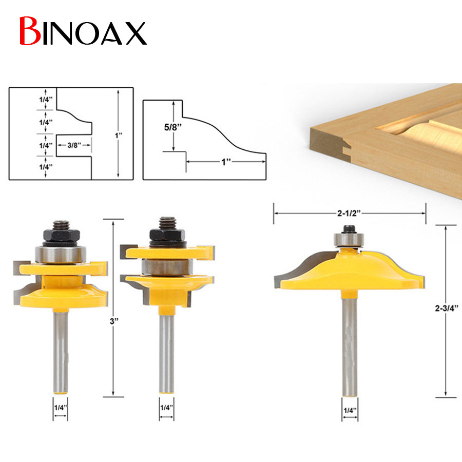 Binoax 3Pcs Cabinet Door Router Bit Set Panel Woodworking Cutter Tools- 1/4'' Shank 3pcs set bit raised panel cabinet door router bit set 1 2 inch milling cutter for woodworking cutter cutting power tools